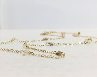 Gemstone Station Necklace - Gold Gemstone Necklace - Citrine and Labradorite Necklace - Delicate Gold Necklace - By the yard Necklace