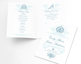 Ceremony Program Printable Template, Disney Wedding Fairytale Theme, Personalized Order of Service, Cinderella Wedding, Once Upon A Time