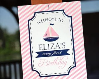 Preppy Nautical Collection: Printable Welcome Sign (Color Choice)