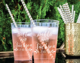 Personalized Plastic Wedding Cups, Custom Hard Plastic Cups, Personalized Barware, Custom Plastic Party Cups, Printed Cups