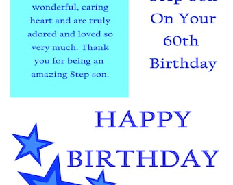 Step Son 60 Birthday Card with removable laminate