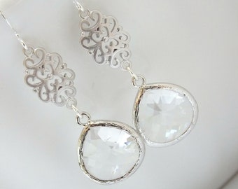 Clear Earrings, Dangle, Drop, Glass Earrings, Crystal, Silver, Wedding Jewelry, Bridal Earrings, Bridesmaid Earrings, Bridesmaid Gift