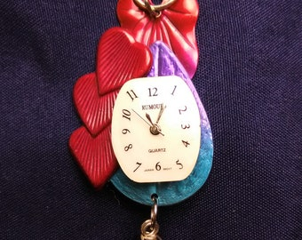 Pretty Hearts Watch Pendant with Magenta, Blue and Purple