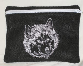 Husky II Embroidered Zipper Pouch