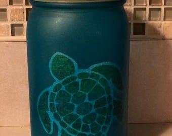 Hand Decorated Mason Canning Jar #0110