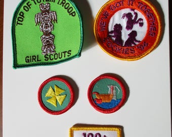 Girl Scout Badges, Sew on Patches, Merit Badge,Let's Get Cooking, Cookies 94, 100+, Top of the Totem Pole Troop,First Aid, Scouting Patch