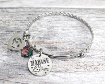 Marine Corps Bangle Bracelet Stainless Steel | Marine Wife Jewelry | Marine Girlfriend Jewelry | USMC Bracelet | USMC Jewelry