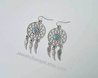 Dream Catcher Earrings, Turquoise Earrings, Angel Wings Earrings, Bohemian Boho, Dangle Earrings, Tribal, gypsy dreamcatcher jewelry