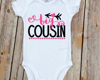 Big Cousin Onesie, Big Cousin Shirt for Girls,  Cousin Shirts,  Pregnancy Announcement,  Pregnancy Announcement Shirt, Cousin Onesie