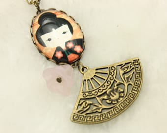 Japanese girl kokeshi Necklace 1825