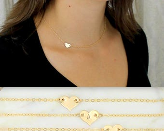 Gold Heart Necklace, Sideways Heart Necklace, Layering Necklace, Minimal Necklace, Everyday Jewelry, Gold Necklace, Bridesmaid Gifts