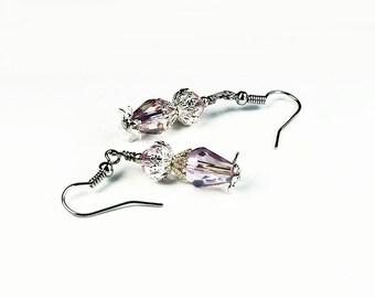 Antwerp, Vintage Floral Inspired Earrings, Pink Crystal & Silver Filigree