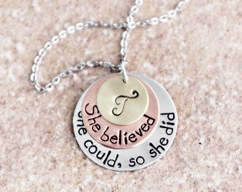 Inspirational Jewelry, Graduation Gift, She Believed She Could So She Did, Mixed Metals, Custom Hand Stamped Necklace