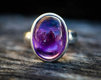 Amethyst Ring size 6-10 - Amethyst Cabochon Sterling Silver Ring Size 6-10 - Amethyst Ring - Purple Amethyst - February Birthstone Ring