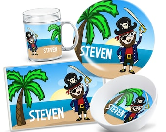 Pirate Kids Dinnerware - Kids Pirate Tableware - Pirate Place Setting - Custom Kids Plate Set - Pirate Placemat - Dinnerware for Boys