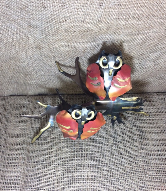 Vintage Metal Tin Copper Owls, owl decor, wall owl decor, vintage metal owls, owl collector, beautiful fall colored hand painted tin owls