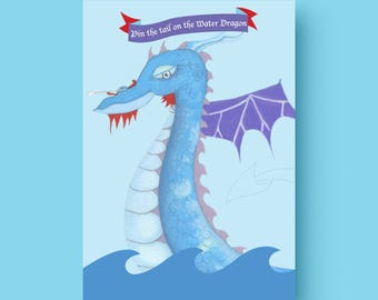 Printable Pin the Tail on the Water Dragon -  A3 size Printable Pin the Tail on the Water Dragon party game (comes with 18 tails)
