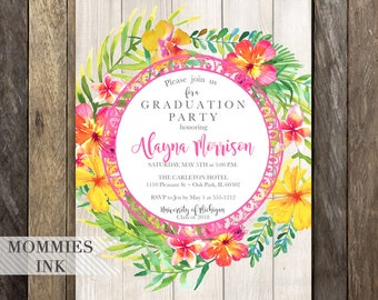 Tropical Graduation Party Invitation, Open House Invitation, Floral Invitation, Class of 2018, Graduation Announcement, Luau Party