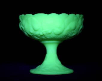 Vintage Vaseline Glass Candy Bowl, Fenton Green Satin Glass Compote, Fenton Water Lily Compote, Fenton Uranium Water Lily Pattern, Fenton
