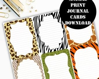 Animal Print Journaling Card Printable / Journal Cards / Scrapbook Kit / Journaling List / Listers Gotta List / Instant Download 00076