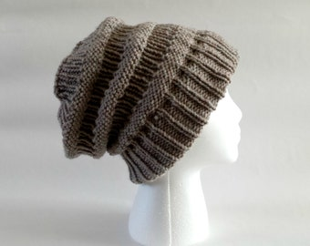 Knit slouchy beanie, knit slouch hat, oversized beanie, baggy beanie, womens winter hats, striped beanie, toque, beige hat, tan hat