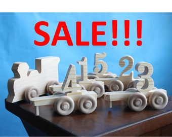 Unpainted Old-fashioned Wood Toy Engine Train and Number Cart, Vintage Look, Train Engineer, Craft, Centerpiece, Conductor, 1, 2, 3, 4