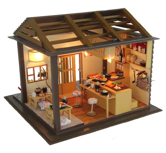 New Doll House Toy Miniature Wooden Doll House Loft With: DIY Japan Sushi House Miniature Kit Izakaya Dollhouse