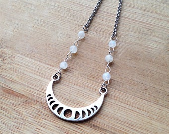 silver moonphase necklace, moon phase necklace, moonstone necklace, moon jewellery, crescent moon, luna necklace, celestial jewellery