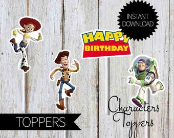 Toy Story Birthday Party Printables Characters TOPPERS- Instant Download | Disney Toy Story| Andy's Room| Cake Topper