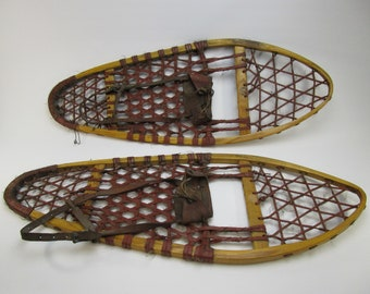 Vintage wood and leather snow shoes rustic cabin decor