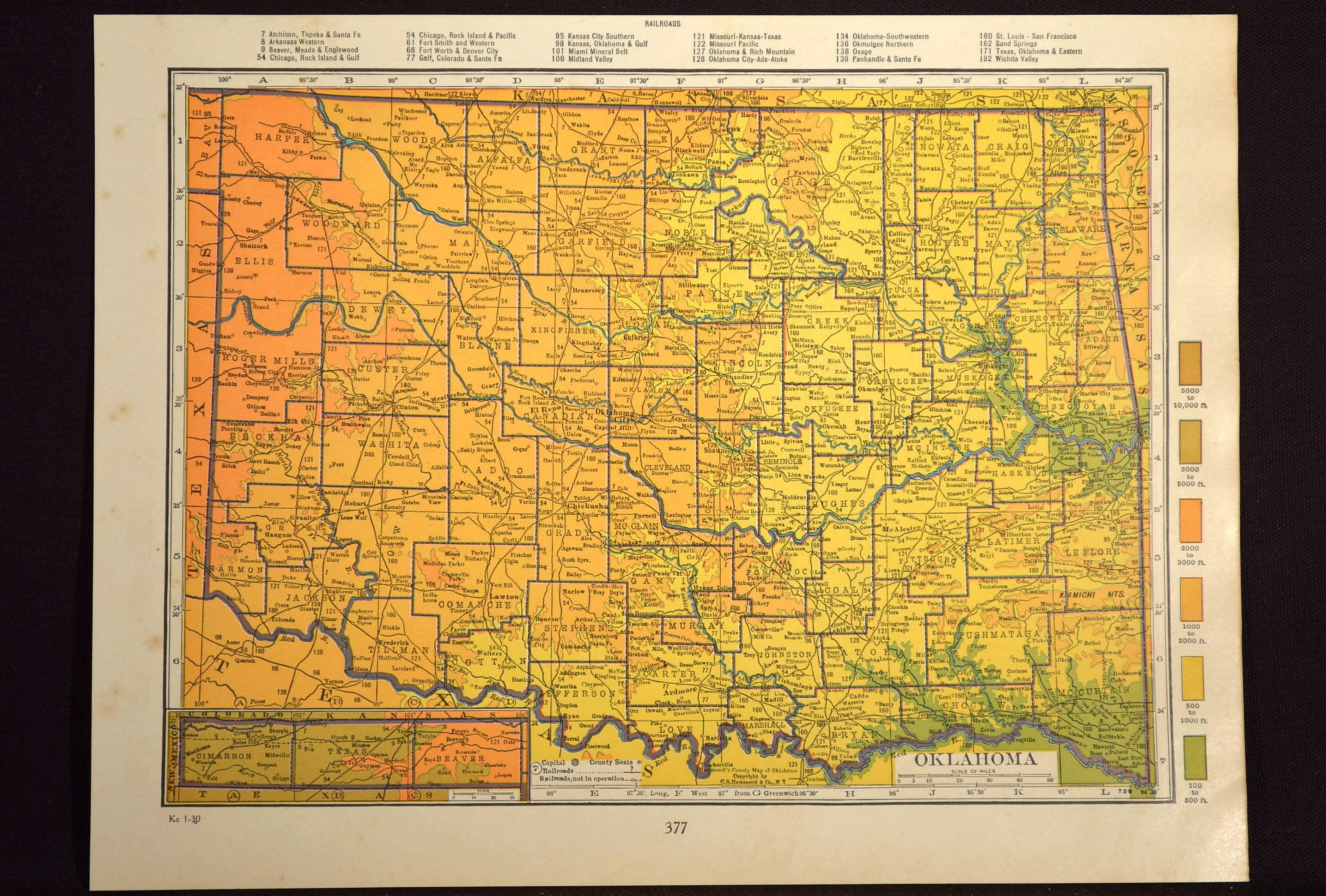 Oklahoma Map Oklahoma Topographic Map Colorful Colored Topo