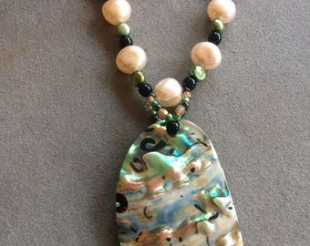LG Cream and Green Paua Shell Pendant, Cream & Olive Pearls, Black Rolled Leather, with SS Chain/Clasp