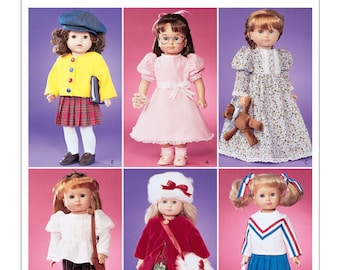"McCall's 3474 Craft 18"" Fits American Girl Doll- Clothes Jacket, Hat, Skirt, Top, Pants, Scarf, Vest Uncut New"