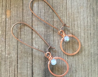 Tiny Copper Hoop and Crystal Earrings