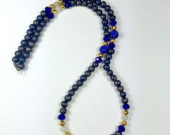 Blue and Gold Shamballa Lion  Necklace