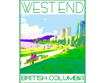 West End English Bay Vancouver, B.C. - Love This Place Cityscape - Art Print on Paper - Home Decor Tourism Gift Photo TheJitterbugShop