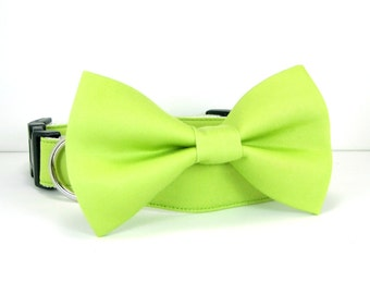 Wedding dog collar-Lime Green Dog Collars with bow tie set  (Mini,X-Small,Small,Medium ,Large or X-Large Size)- Adjustable
