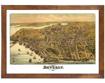 Beverly, MA 1886 Bird's Eye View; 24x36 Print from a Vintage Lithograph