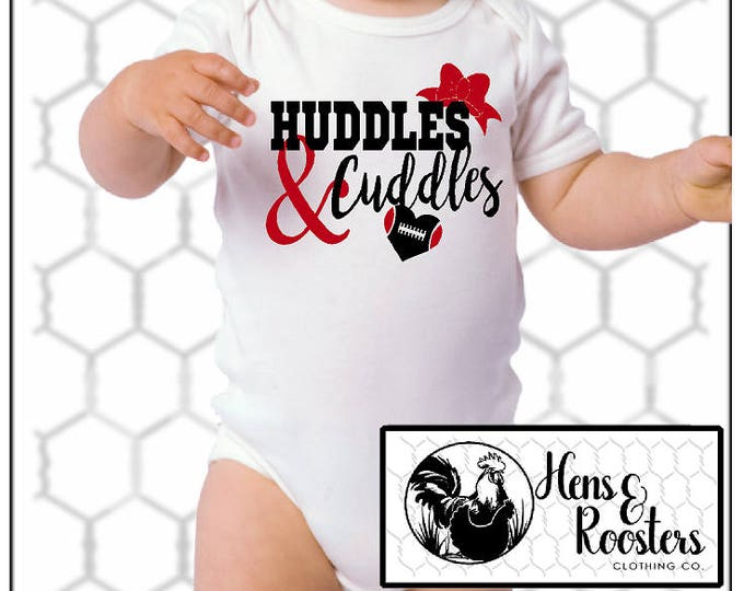 Huddles & Cuddles Football Baby Bodysuit / Infant Creeper / Romper - Perfect for Watching the Games / High School Football  (R4400) #1332