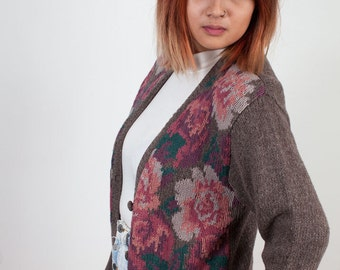 Vintage 90s Floral Cardigan | Knitted Button Down Sweater | Knit Cardigan