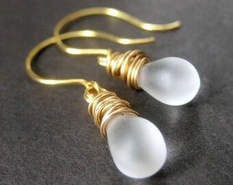 Frosted Glass Teardrop Earrings. Gold Earrings. Wire Wrapped Teardrop Earrings. Dangle Earrings. Handmade Earrings. Handmade Jewelry.