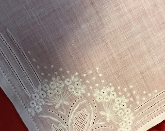 Very Old vintage hand embroidered, pulled thread, and hemstitching bridal/wedding handkerchief