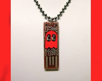 Ghost USB Circuit Board Necklace with Ball Chain - lights up