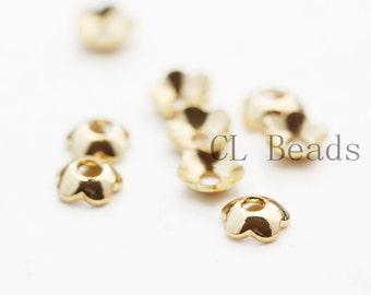 10pcs Shiny Gold Plated Flower Caps- 3mm (1700C-U-145)