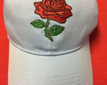 Custom Embroidered Red Rose Cap