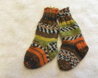 Orange Green Brown Stripe Children's Hand Knit Socks