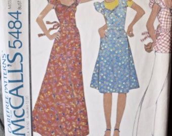 1970's McCall's 5484 Vintage Sewing Pattern Maxi Dress Knee Length Dress Peplum Top Patch Pockets Ruffled Sleeves T-Shirt Size 12 Bust 34