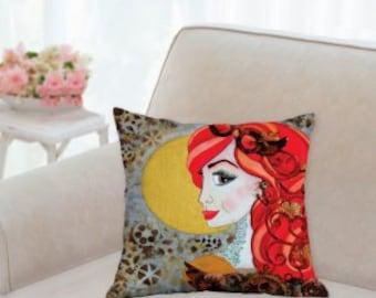 Steampunk pillow, Decorative, girls room pillow, pretty pillows, throw pillows, original art