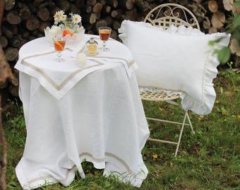 Linen table top Linen tablecloth Rustic wedding table Custom tablecloth Natural tablecloth Table top Wedding tablecloth Lace tablecloth