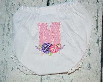 Personalized Flower Laurel wreath Monogram Bloomers Diaper Cover